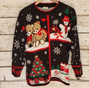 Ugly Christmas Sweater Vintage Teddy Bear Snowman